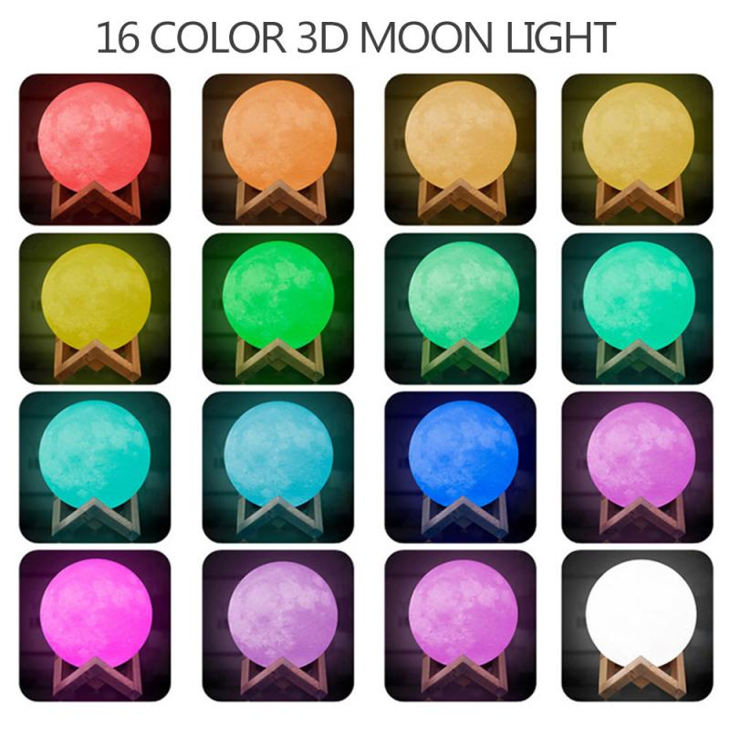 2/16 Color Charging Moon Light Night Light Touch Switch Remote Control 3D Printing Lamp Bedroom Bookcase Night Light Holiday Gif