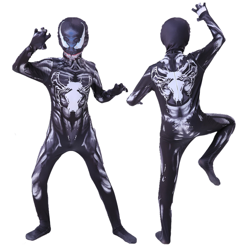 Kids Venom Costume Boys Cosplay Superhero Venom Costumes Suit Jumpsuit Bodysuit Halloween Costume For Adult Children
