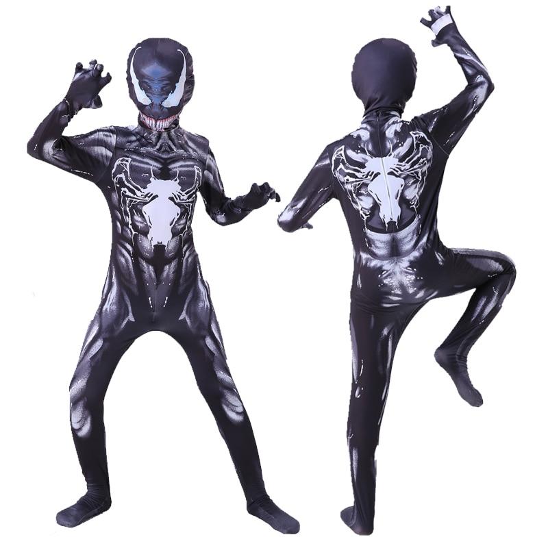 Kids Venom Costume Boys Cosplay Superhero Venom Costumes Suit Jumpsuit Bodysuit Halloween Costume For Adult Children
