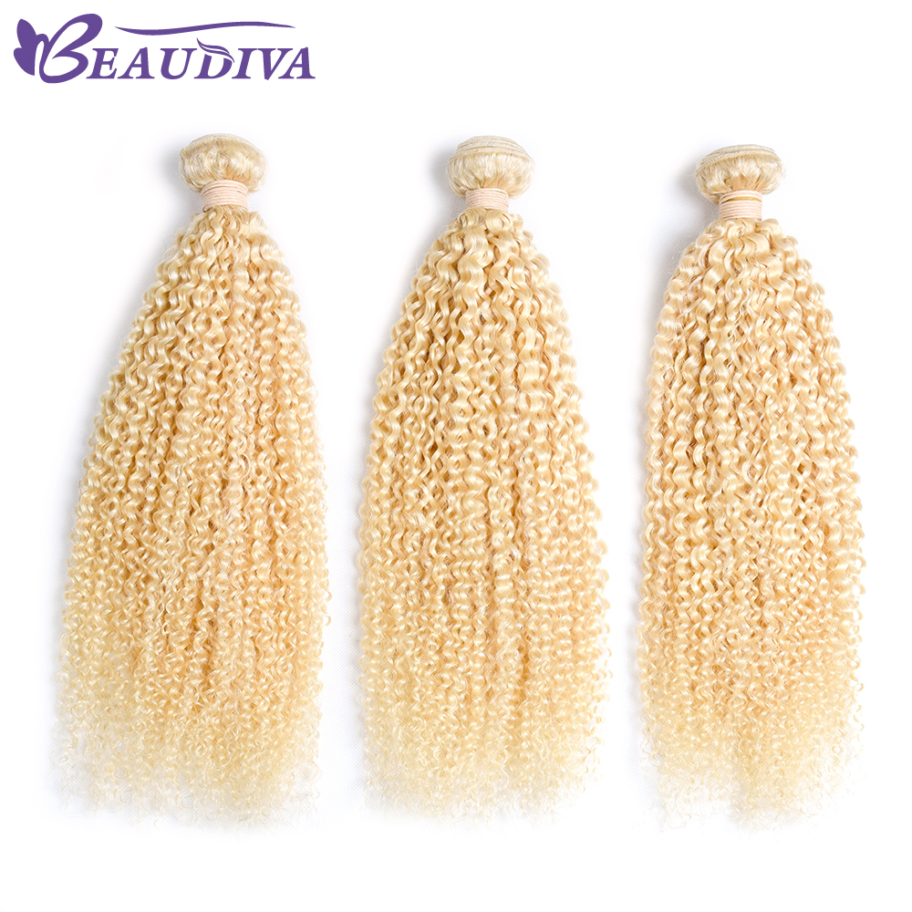 BEAUDIVA Pre-Colored Kinky Curly Human Hair Weave 3PCS #613 Blonde Color Kinky Curly Hair Weave Bundles 10-24inch Free Shipping