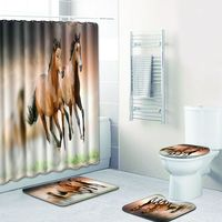 Horses Shower Curtain Fabric Polyester Waterproof Hooks Pedestal Rug Lid Toilet Cover Anti slip Bath Mat Carpet Home Decoration