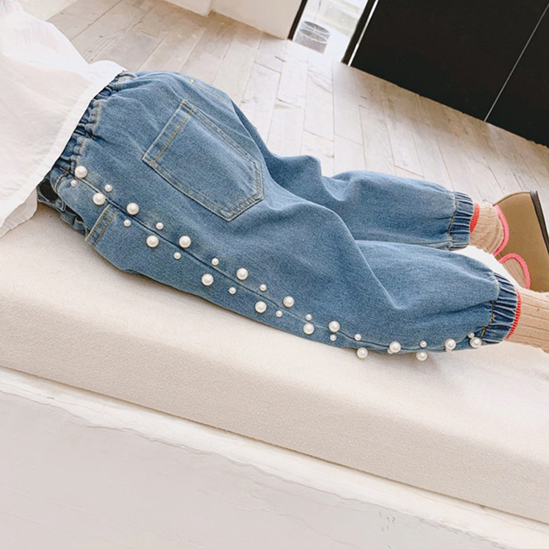 Children Clothes 2020 New Spring Autumn Loose Girls Jeans Pearls Fashion Denim Pants Elastic Waist Kids Girl Trousers