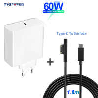 PD USB Type C Charger for Microsoft Surface Pro 6/5/4/3 Go Book Tablet Compatible 15V/12V 4A 3A 2.58A 65W 44W PD Charging Cable