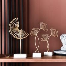 Европейское освещение роскошные украшения, аксессуары для дома креативные кованые Золотые листья гинкго гостиной ТВ шкаф крыльцо подарок