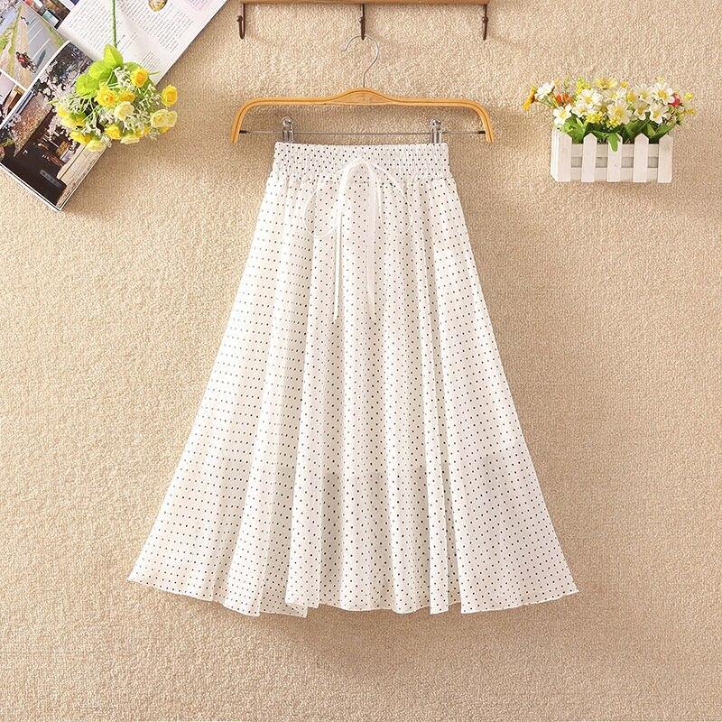 Women's Floral Skirt High Waist Long Summer 2020 Printed Chiffon Skirt Summer Woman Skirts Mujer Faldas Saias Mulher 6