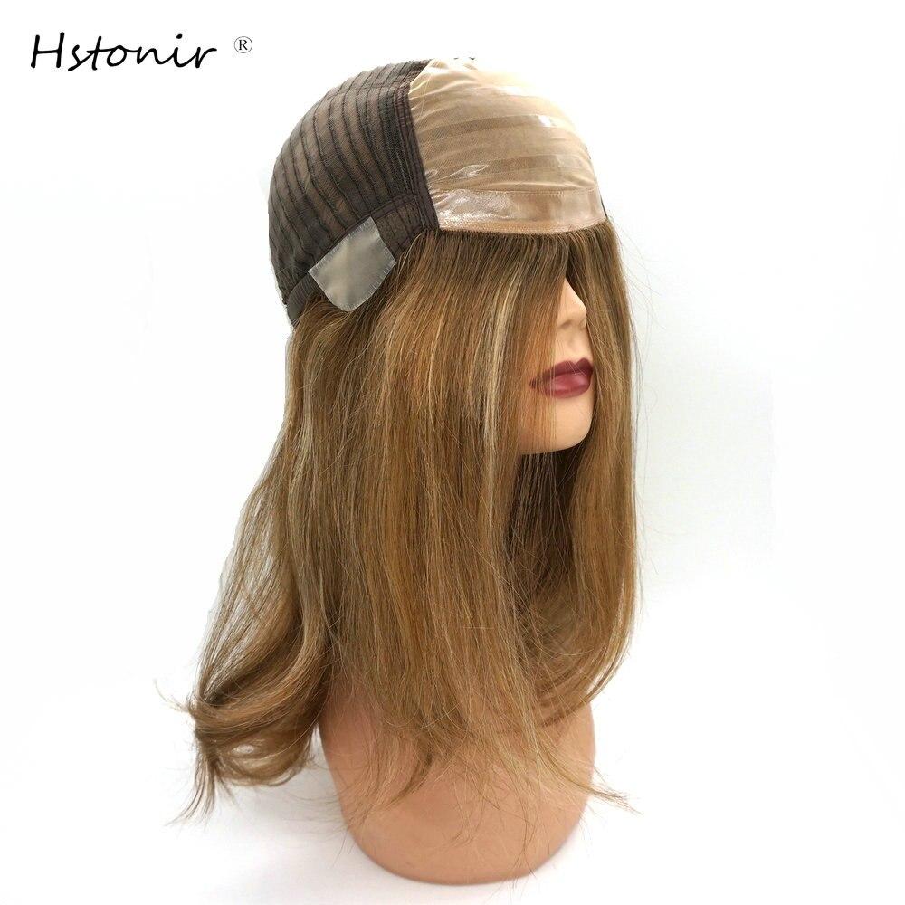 Hstonir Jewish Wigs For Women Pre Plucked Silk Top Human Hair Wigs Pelucas De Mujer Perruque Demi Tete European Remy Hair G028