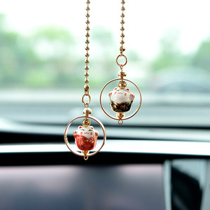 Cute Lucky Cat Charm Car Pendant Automobiles Rearview Mirror Suspension Decoration Accessories Hanging Pendant Gifts