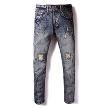 Ripped Jeans Men Classic Dsel Mens Jeans Blue Color Cotton Ripped Hole Jeans For Men Brand Designer Biker Jean Long Pants 28-40 new designer dots print biker jeans men character ripped patchwork casual men s jeans pants 100