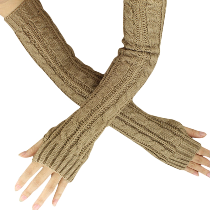 Fashion Winter Women Men Gloves Unisex Arm Warmer Long Fingerless Knit Mitten