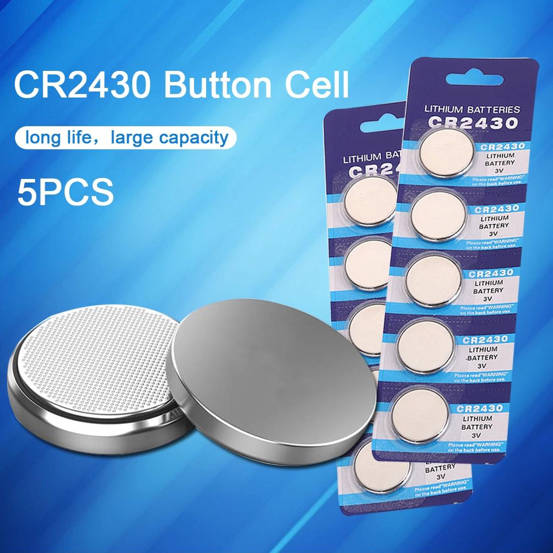 5 шт. CR2430 часы батарея кнопка батареи DL2430 BR2430 ECR2430 монет литиевые батареи для игрушек калькулятор часы