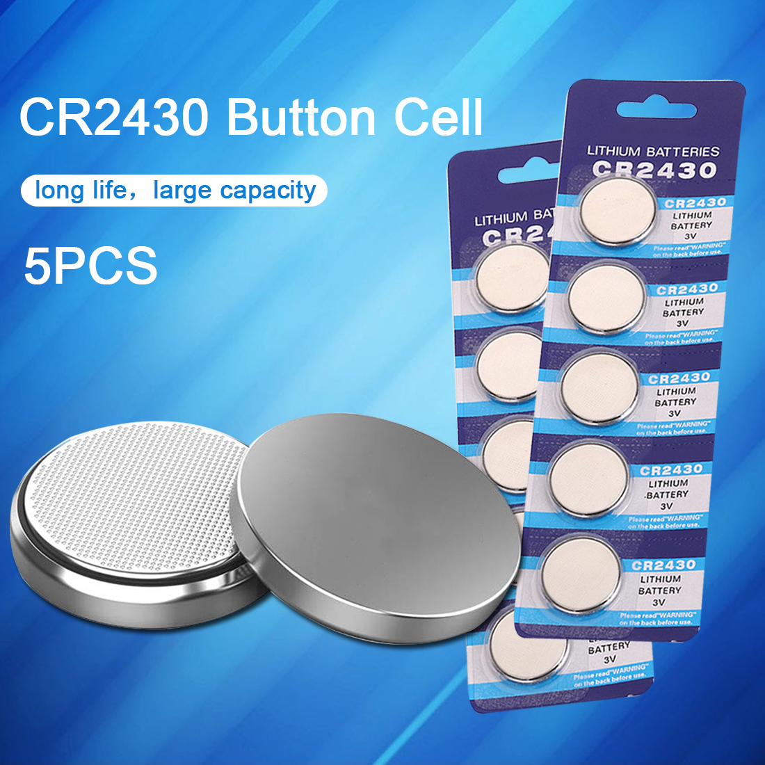 5PCS CR2430 Watch Battery Button Battery DL2430 BR2430 ECR2430 Coin Cell Lithium Batteries for Toy Calculator Clock Watch
