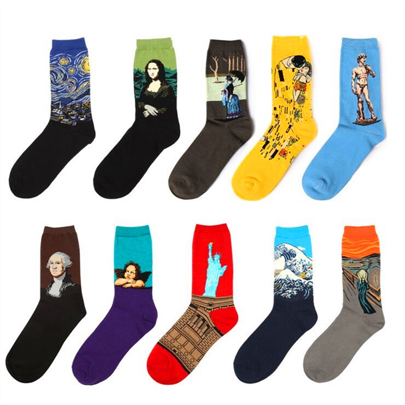 5 Pairs Hot Spring New Arrival Unisex Style Retro Art Oil Painting Men Crew Sock Women Socks Cotton Casual Men's Socks EUR36-43