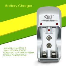 Cargador de batería recargable Universal, 2 ranuras, fácil de usar, para AA/AAA, 9V, Ni MH, enchufe europeo/estadounidense