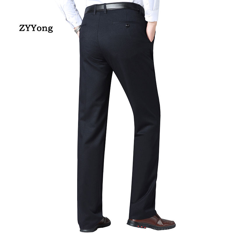 Men's Pants Straight Loose Casual Fashion High Quality Comfortable Office Men's Business Suit Pants Black Dark Gray Trousers