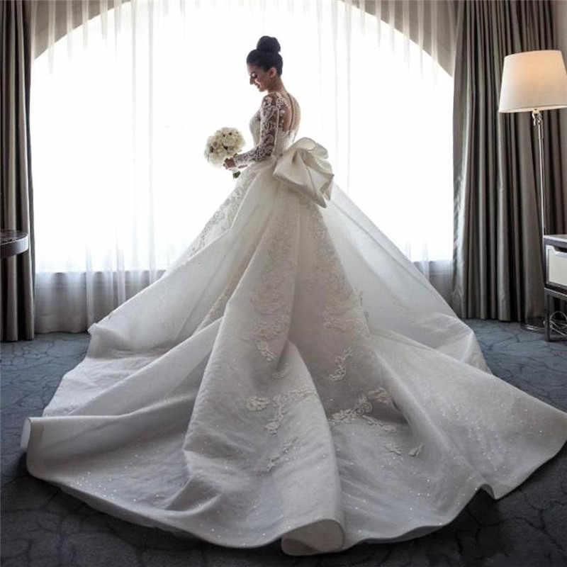 SWEMILE حورية البحر الدانتيل فساتين الزفاف انفصال قطار طويل كم ربطة القوس فيونكة فستان عروس الفاخرة الزفاف أثواب Vestido دي Noiva