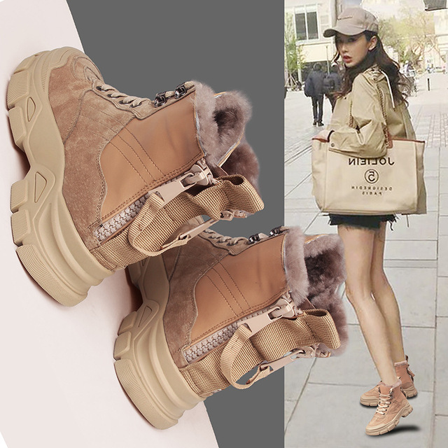 Swyivy Genuine Leather Snow Boots Women Winter Thick Fur Warm Shoes Sneakers Winter 2020 New Ankle Boots Back Zipper Martin Boot