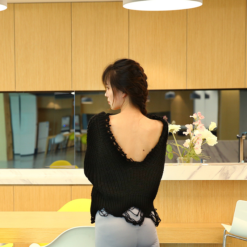 HDY Haoduoyi New Fashion Sexy Backless V-neck Sweater Women Loose Autumn Casual Knitted Sweater Female Pullover Jumpers 11