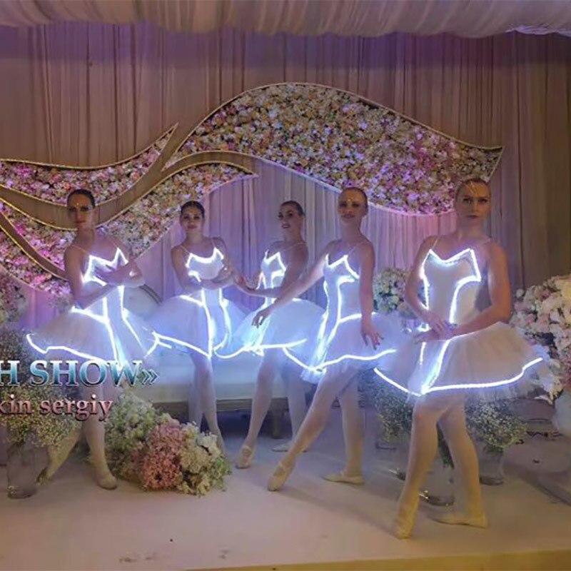Luminescence Light Up Led Fluorescence Dancing Dress Stage Go Professional Ballet Tutu Skirt Ballet Clothes For Children