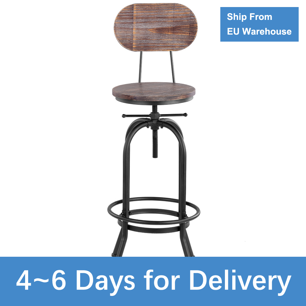 Industrial Style Bar Stool Height Adjustable Swivel Chair Kitchen Dining Chair Pinewood Top + Metal With Backrest