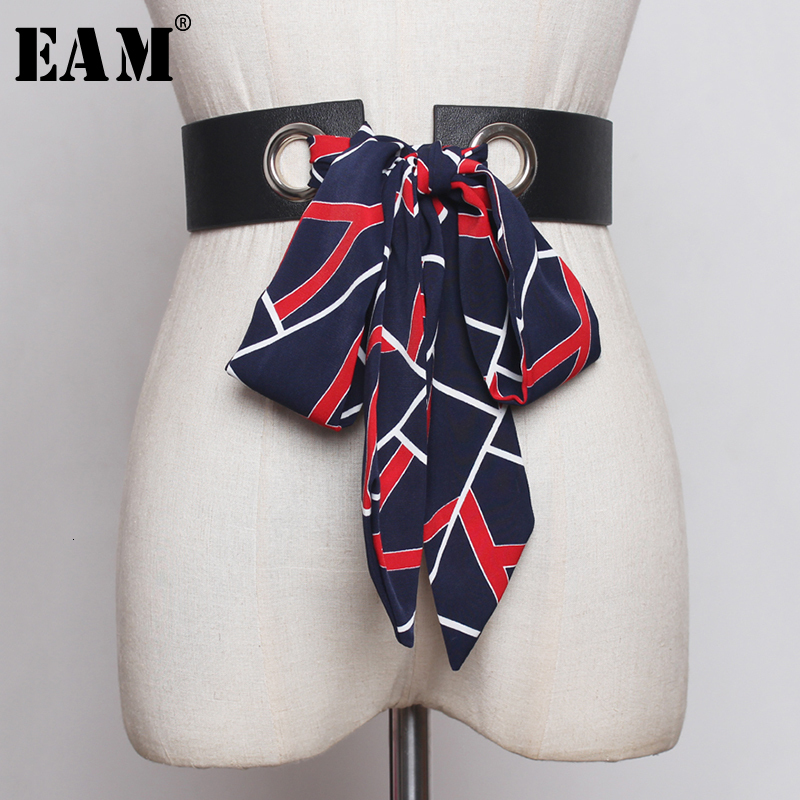 [EAM]  Pu Leather Scarf Bandage Split Joint Long Belt Personality Women New Fashion Tide All-match Spring Autumn 2020 1B854