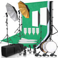 Fotografía estudio Softbox Kit de iluminación con 2,6x3 M marco de fondo 3 uds telón de fondo trípode soporte tablero Reflector 4 paraguas