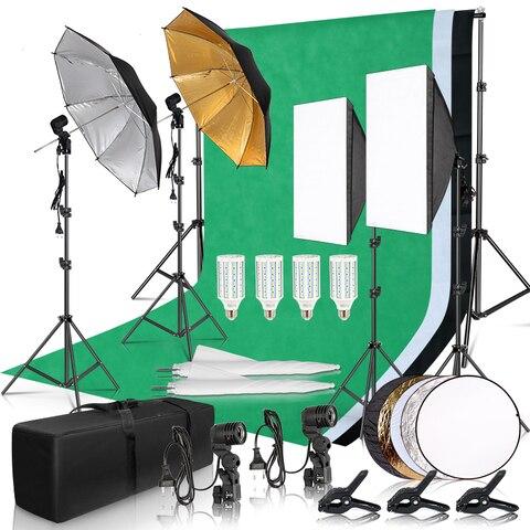 Quadro de Fundo Kit de Iluminação com 2.6×3 Fotografia Photo Studio Softbox 3 Pçs Backdrops Tripé Suporte Refletor Placa 4 Guarda-chuva m