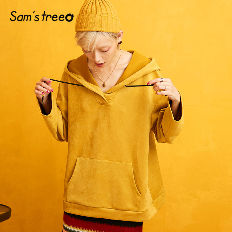 SAM'S TREE Yellow Solid Suede Velvet Hoodies Sweatshirts Women 2019 Autumn Drawstring Loose Sleeve Oversived Office Ladies Tops