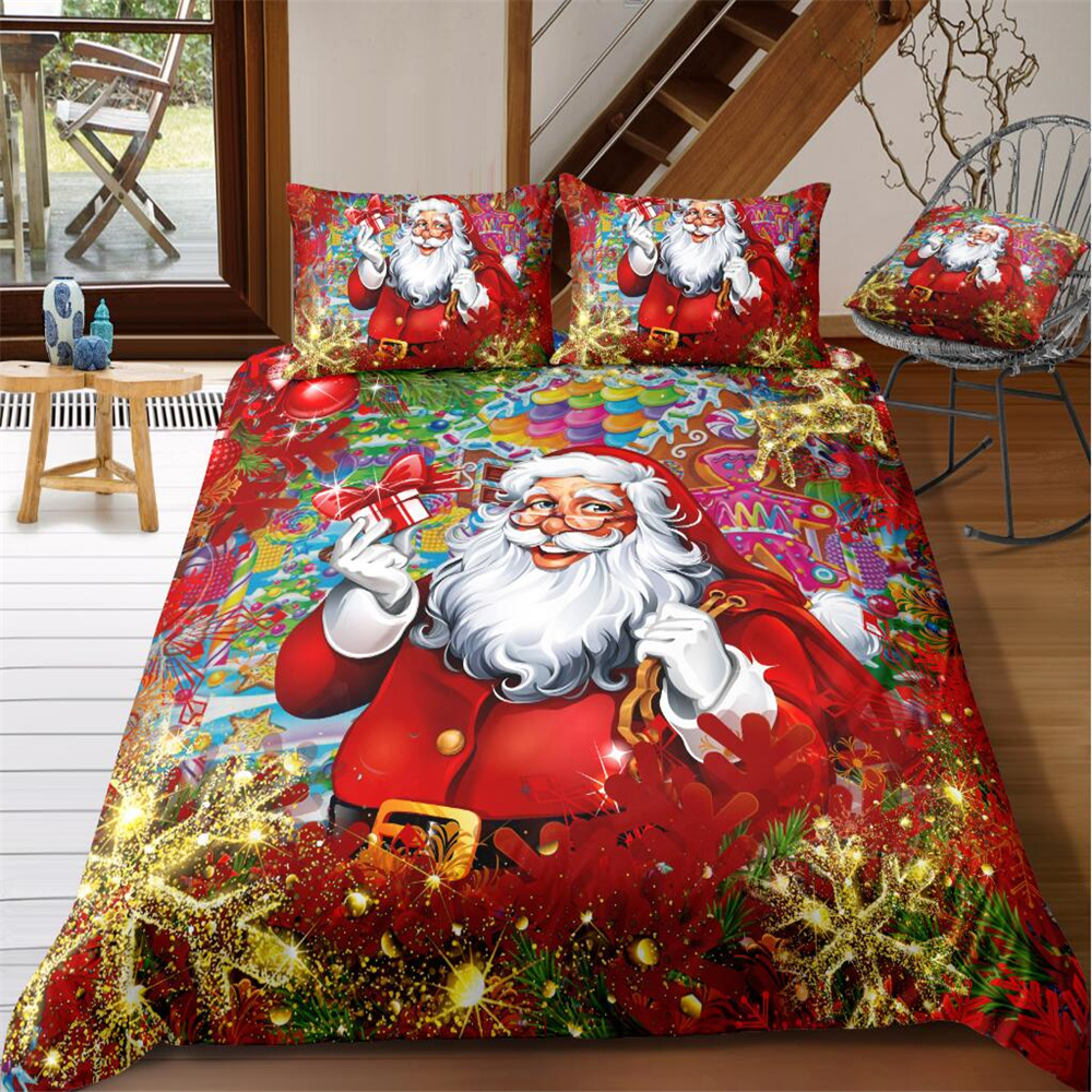 Christmas Bedding Set Red Santa Claus Gold Snowflake Printed Duvet Cover Set Pillowcase Adult Kids Twin Queen Size Bed Linen Set