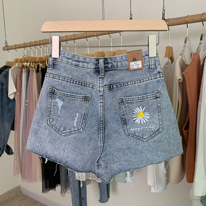 2020 New High-waist Denim Shorts Summer Embroidery Daisies Loose Loose Thin Wide-leg