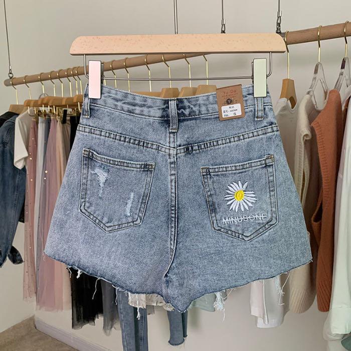 2020 New High-waist Denim Shorts Summer Embroidery Daisies Loose Loose Thin Wide-leg
