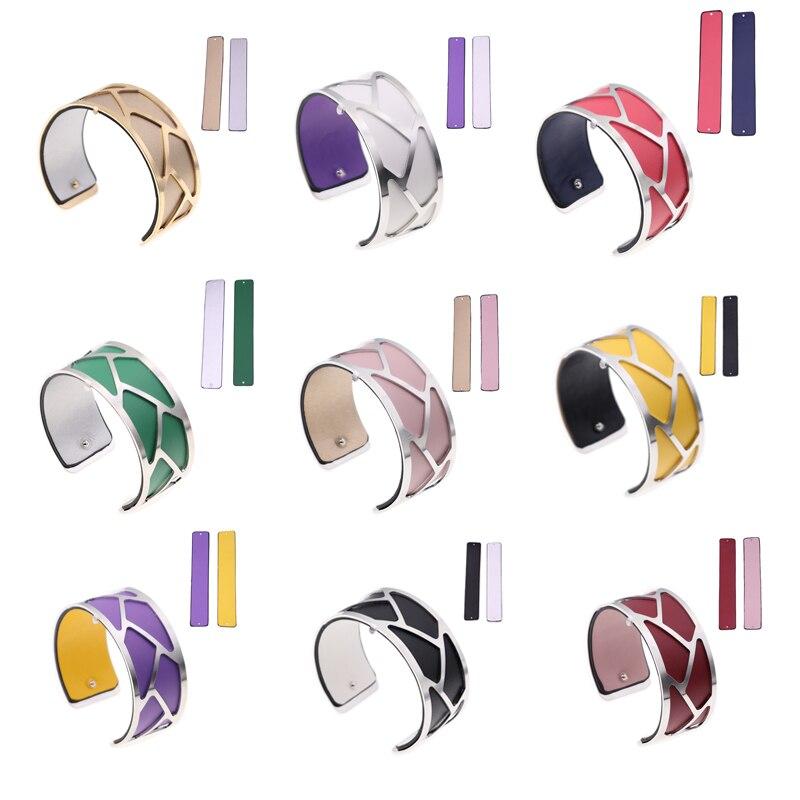 25mm Braid Cuff Bracelet Silver Color Finish Reversible Leather Manchette Interchangeable Bracelet Bijoux Jewelry for Women