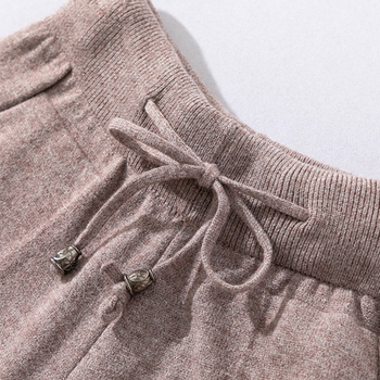 Autumn and winter fashion casual women's knit sweater pants suit knit sportswear color strip stitching wool knit suit 6