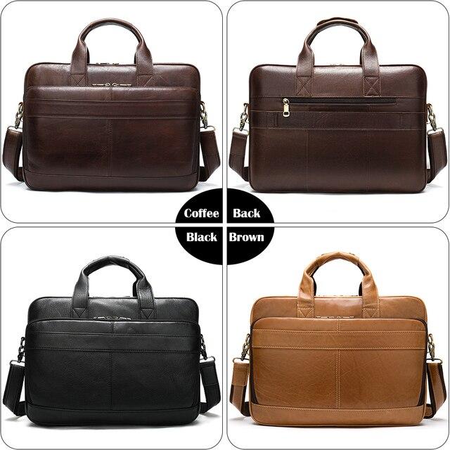 Westal masculino saco de couro maleta sacos de escritório para homens saco de couro genuíno do homem sacos de portátil masculino bolsa 5
