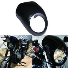 цена на Motorcycle Cafe Drag Black Headlight Head light Fairing Custom Visor For Harley Sportster Dyna FX/XL 1973-UP Fork