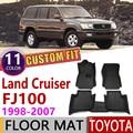 Кожаные автомобильные коврики на заказ для Toyota Land Cruiser 100 LC100 J100 1998 ~ 2007 5 мест коврик для ног Аксессуары для ковров 1999 2000 2005