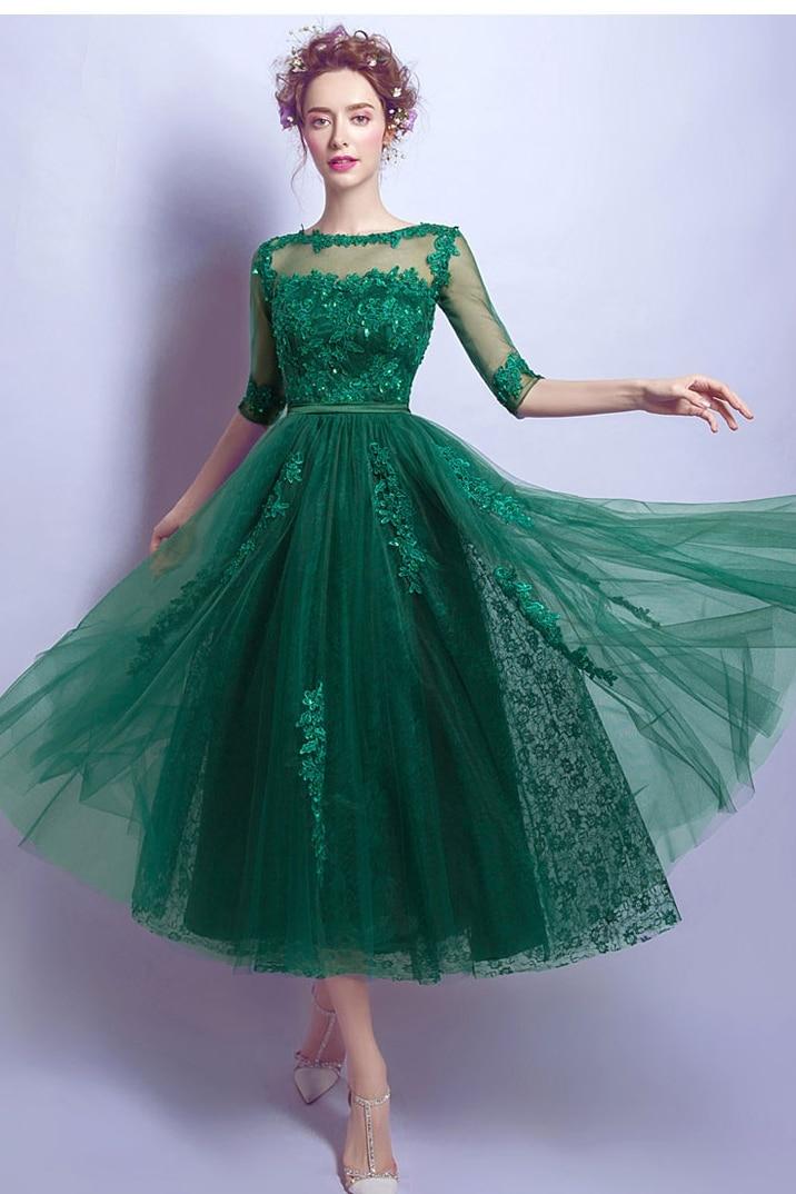 Green Tea Length Evening Dress Half Sleeve Appliques Beads Tulle Robe De Soiree Women Formal Party Dress Abiye Gece Elbisesi