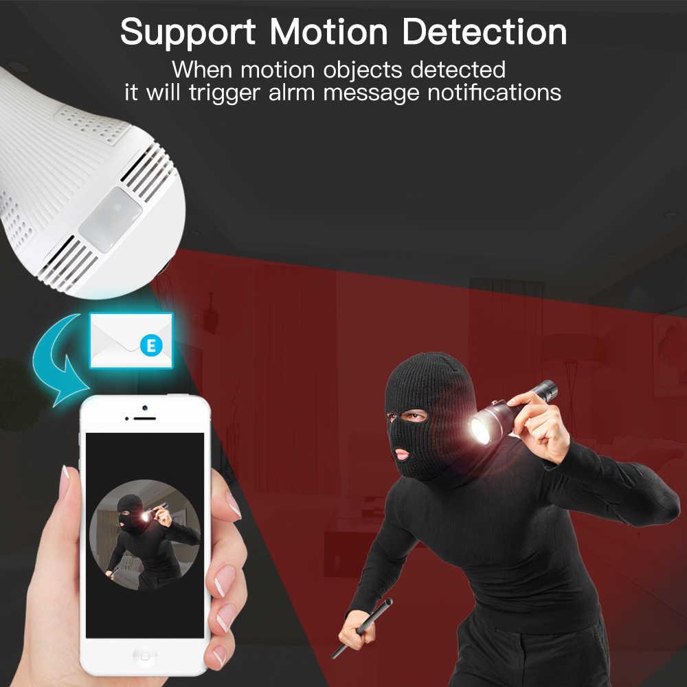 360 درجة فيش واي فاي مصباح ذكي مصباح IP مصباح ليد HD اللاسلكية بانورامية كاميرا أمنة للبيت مكافحة لص دعم TF بطاقة