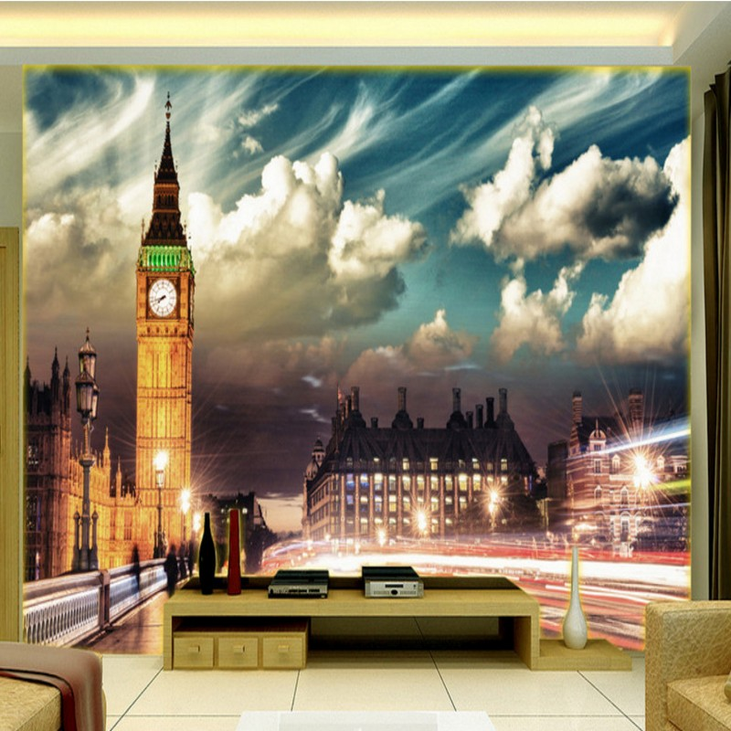 Drop Shipping Custom Photo Wallpaper Europe American Style London Street TV Backdrop Mural Living Room Hotel Hall Wallpaper
