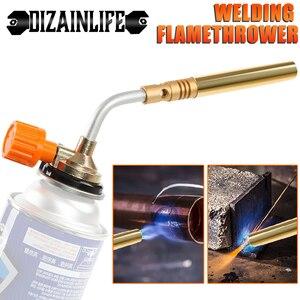 Flame Gun Camping Welding BBQ Tool Butane Burner Welding Gas Torch Heat Gun for Welding Equipment Adjustable Flamethrower Tool