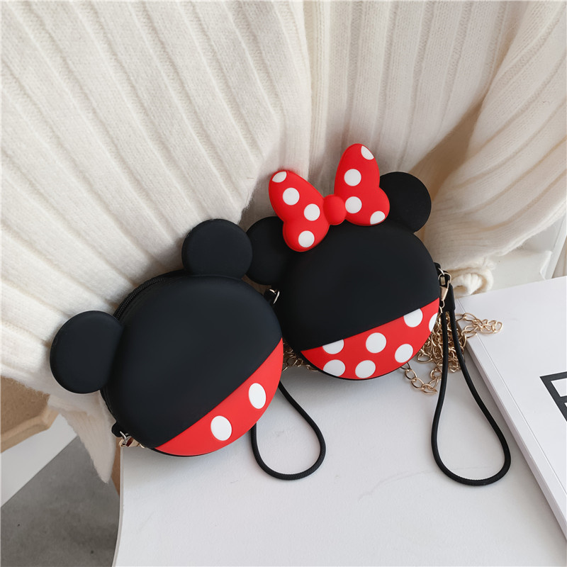 Kawaii Mini Crossbody Bag Cartoon Silica Gel Zipper Bucket Fashion Girls Coin Purse Chain Change Wallet Keychain Children Gifts