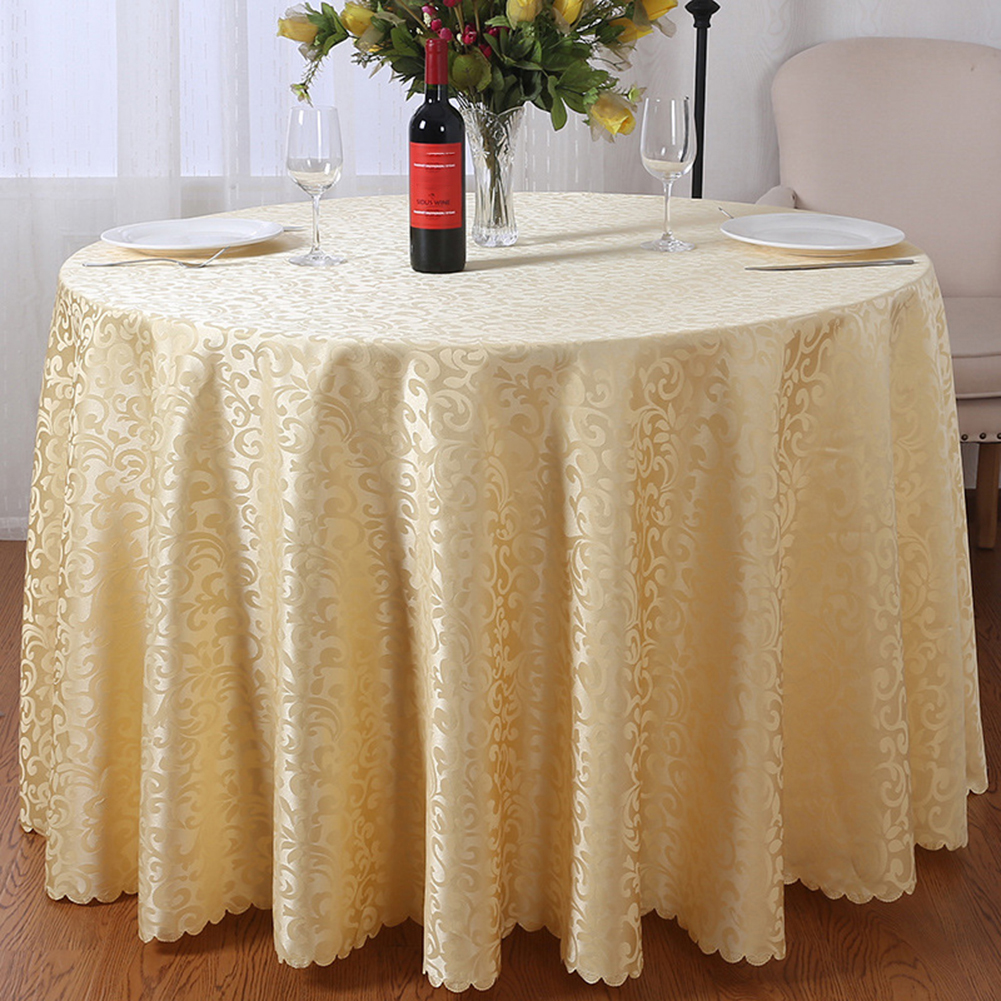 Jacquard Round Tablecloth Polyester Damask Table Cover Hotel Wedding Table Decor