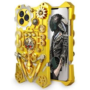Image 1 - الفاخرة درع معدن الألومنيوم النحاس النقي غطاء الهاتف ل iphone11 برو ماكس حالة الميكانيكية والعتاد بحتة اليدوية الجمجمة الهاتف قذيفة