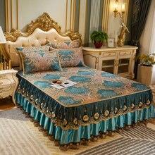 Vintage verano encaje acolchado colcha Full Queen King desmontable Bedskirt seda hielo funda para cama plegable almohadilla de refrigeración funda de almohada 3 uds