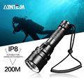 Waterproof IPX8 Scuba Diving Light 200 Meter L2 Underwater LED Flashlight Diving Lanterna Torch Lamp by 18650 With Hand Rope