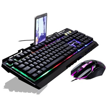 G700 Game Luminous Wired USB Mouse and Keyboard Suit With Rainbow Backlight LED Lights Mechanical Gaming