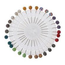 30Pcs Muslim Hijab Scarf Safety Pins Crystals Ball Brooches Straight Head Pins