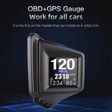 Projecteur de vitesse pour voiture, affichage tête haute A401, OBD, GPS, double système, affichage numérique Hud, compteur de vitesse, LCD, alarme de survitesse