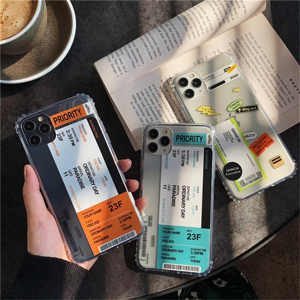 H19d72da6b6304d0989e0183a18d8c8c7N - New Trend Transparent Anti-drop ticket label Code Case For iPhone 11 Pro XS Max XR X 6 6S 7 8 Plus Soft TPU Protecte Back Cover