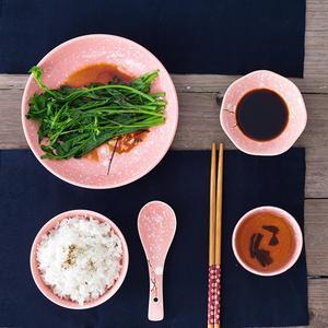 Image 4 - Styl japoński ceramiczne zastawy stołowe zestaw sztućce gospodarstwa domowego kreatywny ceramiczna zastawa (różowy)