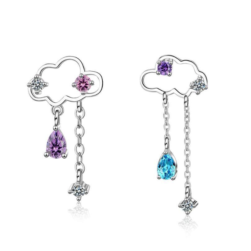 New Clouds Asymmetric Tassel Water Drops Zircon Earrings For Women Trend Creative 925 Sterling Silver Jewelry Oorbellen SAE436